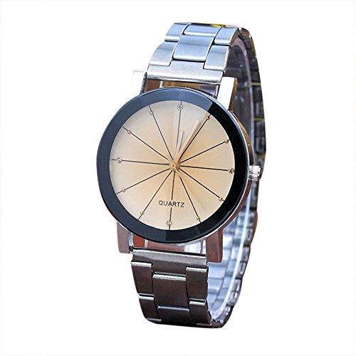 Orologio da polso da donna Ronamick, alla moda, unisex, cinturino in acciaio inox, analogico, al quarzo, orologio da polso Khw