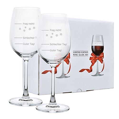 2 Pack Weinglas Guter Tag!, Schlechter Tag! - Frag Nicht! 420ml Rotweingläser | Weißweinglas | Stimmungsglas | Premiumglas mit Laser-Gravur | Geschenkidee [Geschenkverpackung]