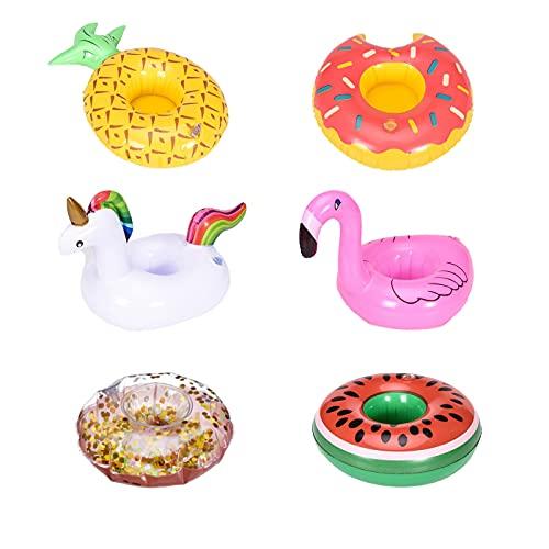 Ducomi Chill – Portavasos hinchable con diseño de unicornio, flamenco, piña, rosquilla, rosa, purpurina, sandía, ideal para fiestas en la piscina, playa, jardín y juegos para niños (6 unidades)