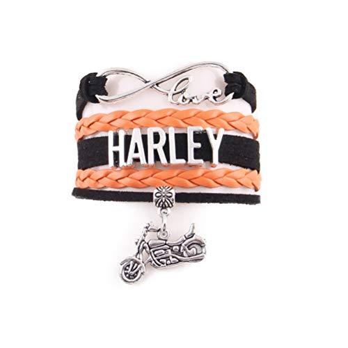 Lederarmband Für Herren, Infinity Liebe Harley Wort Motorrad Legierung Armreif, Charme Wickeln Unisex Multilayer Armband, Exklusive Manschettenknöpfe Schmuck Armband Zubehör Festival Geschenk Der