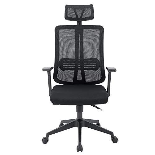 Sigtua, Office Stuhl Ergonomischer PC Stuhl Höhenverstellbarer Chefsessel Schreibtischstuhl drehbarer Bürostuhl Computerstuhl Schwarz