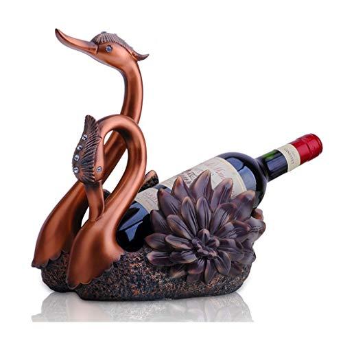 Botelleros de estilo clásico Resina vino del estante del sostenedor cisne vino gratis pie prácticos Crafts gabinete del vino del regalo de boda Decoración Estante de almacenamiento de licor de encimer