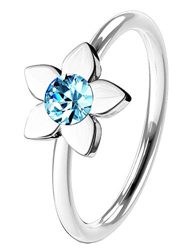 Body Jewellery Shack Annealed Hoop Nose Lip, Ear Ring bar daith Tragus snug Rook Helix Stud with Flower Clear or Aqua Crystal 316L Surgical Steel (8mm x 0.8mm) (with Aqua Crystal)