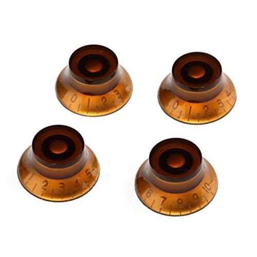 Exceart 4 Stks Acryl Gitaar Dome Knoppen Vintage Bastoon en Volumeknoppen Cap Vervanging Voor Fender Tele Bas Elektrische Gitaar (Amber)