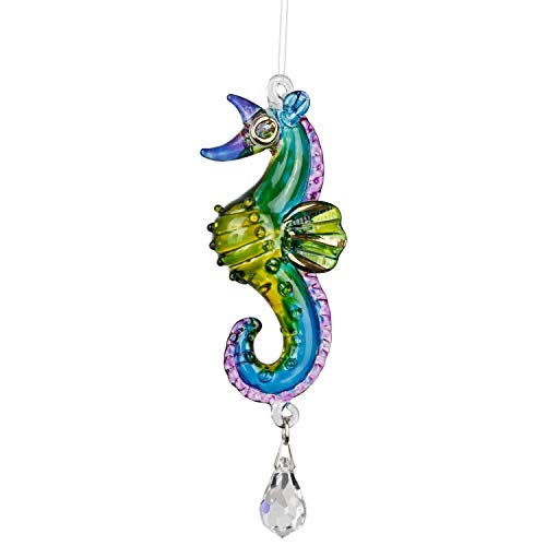 Woodstock Chimes CRTRO Rainbow Makers Fantasy Glass Suncatcher, Seahorse, Tropical