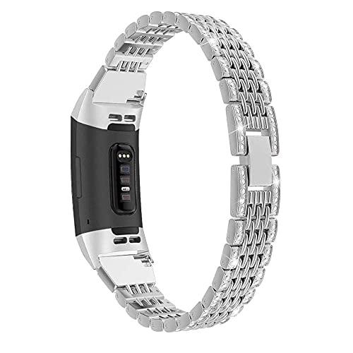 Compatibile per Fitbit Charge 4/Fitbit Charge 3 cinturino da polso da donna con strass e glitter e fibbia in metallo, cinturino di ricambio per Fitbit Charge 4/3 Fitness Tracker watch stra