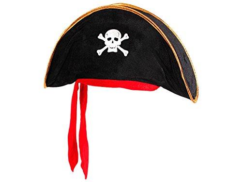 Alsino Piratenhut schwarz Kinder (Ph-07) Pirat Verkleidung Piratenkostüm Seeräuber Dreispitzhut