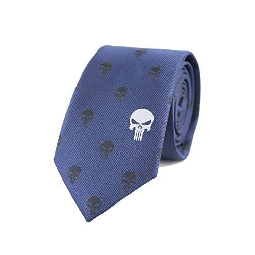 COLILI Mikrofaser Jacquard Punisher Symbol Muster Krawatte Comic Film Thema Krawatte Vatertag Geburtstag Hochzeitsgeschenk