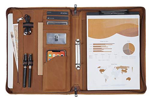 Konferenzmappe A4 Leder Schreibmappe Ringbuch mit Klemmbrett a4 Dokumentenmappe Portfolio Organizer Ringbuchmappe mit Reissverschluss Braun