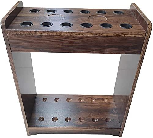 Estante de taco rústico independiente, soporte de exhibición de madera para palo de billar grande - Sostiene 12 tacos, para sala de juegos, bar, clubes de negocios, estante de golf / billar premium