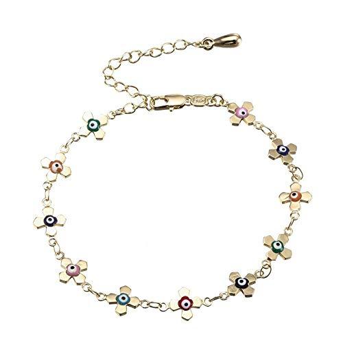Pulsera elegante para mujer con forma de flor, decoración para los ojos, gancho rápido, cadena de cobre