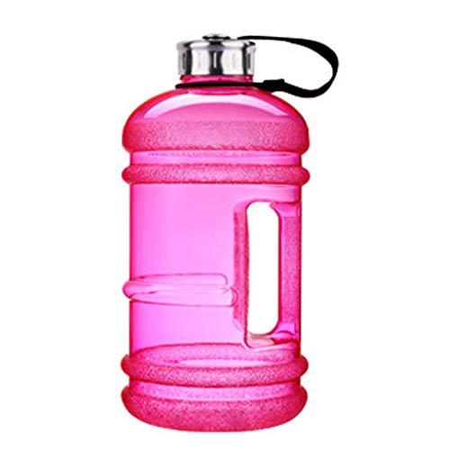 KOUJING Botella de agua deportiva de gran capacidad de 2,2 l con mango reutilizable al aire libre a prueba de fugas