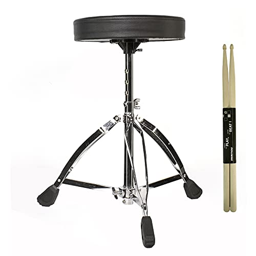 Drum Throne Universal Height Adjustable Stool, Adjustable Tripod Stool, Portable Foldable 5A Drum Stick, Professional Musician Guitar Stool Double Support Hardware and Non-slip Foot