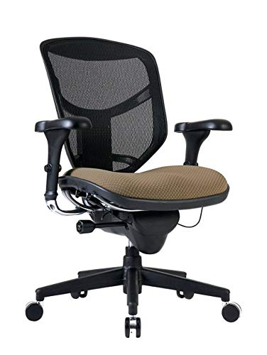 WorkPro Quantum 9000 Series Ergonomic Mesh/Fabric Mid-Back Desk Chair, Beige/Black
