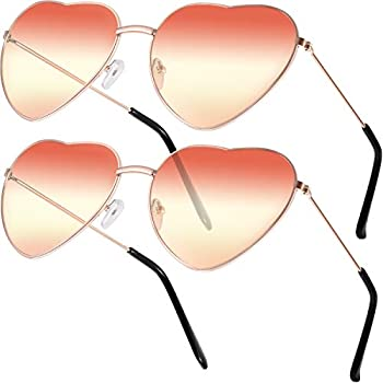 2 Pairs Hippy Specs Glasses Heart Shaped Sunglasses for Hippie Fancy Dress Accessory Rose Gold Frame  Gradient Red and Yellow Lens