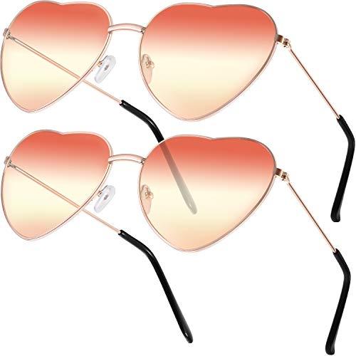 2 Paare Hippy Brille Herz Geformt Sonnenbrille for Hippie Verrücktes Kleid Zubehörteil, Rose Gold Rahmen (Gradient Rot und Gelb Linse)