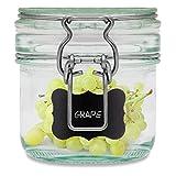 Creative Home Tarro de Cristal Hermético con Tapa 0,2 Litro | 1 x 200 ml | Bote Envase con Cierre de Clip y Sello Silicona | Conservar Alimentos | 4 Pegatinas Reutilizables + 1 Tiza Sin Polvo