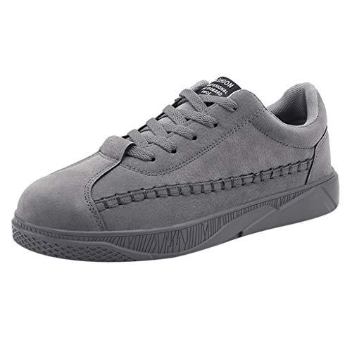 WINLISTING Zapatos Hombres, Zapatillas de Deporte con Cordones Casual Zapatos Antideslizantes de Fondo Plano Transpirable de Gamuza Mate