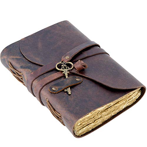 """Vintage Leather Journal - Antique Handmade Deckle Edge Vintage Paper Leather Bound Journal - Book of Shadows Journal - Leather Sketchbook - Drawing Journal - Great Gift (9"""" x 6"""", Red Brown)"""