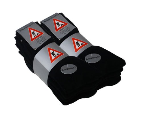 VCA 10 Paar Stabile Baumwoll Socken -Freizeit & Berufssocken- (43/46, schwarz)