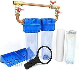 """Double Porte filtre à eau Bypass 9""""3/4 Cartouche Polyphosphate et Sediment 20µm Filtration Anti-Calcaire Anti-Sédiment Fab..."""