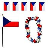 Sonia Originelli FANSET EM Fußball Tschechien Czech Republic Girlande Mini Hand Flagge Hawaiikette