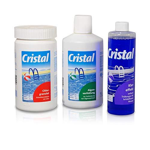 POOL Total Cristal Set Wasserpflege Chlor 4 TLG/Enthält Chlorgranulat, Algenschutz, Klareffekt und eine Wasserpflegefibel