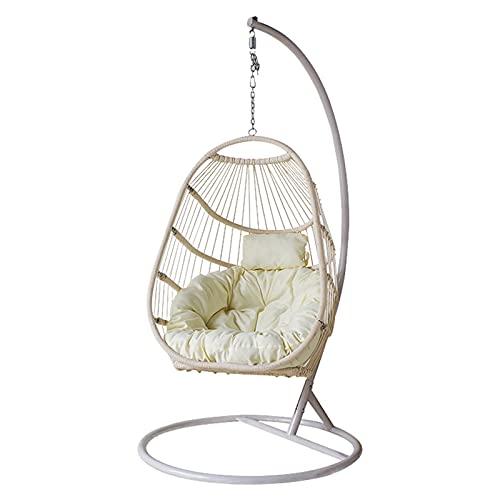 CJHOME Egg Chair Altalena sospesa - Sedia da Giardino per Esterni da Interni - Sedia da Giardino in Rattan Indipendente con Supporto