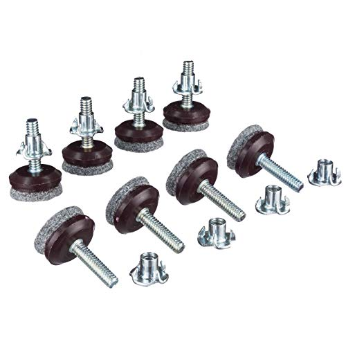 Furniture Levelers- Adjustable felt-bottomed pads for table, chair, and furniture legs-Pack of 8 with durable metal T-nut-Heavy Duty threaded furniture glides- Hardwood floor protectors- leveling feet