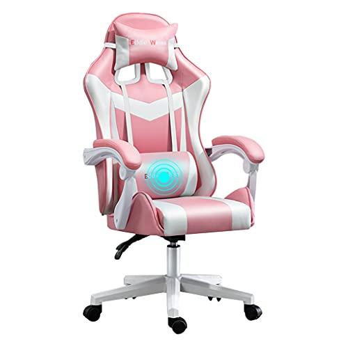 qiaoliang Chaise de jeu d'ordinateur dossier ergonomique et réglage de la Hauteur du siège Chaise inclinable pivotante Chaise de Sport électronique pour adultes Femmes Filles(Color:Rosa Blanco)