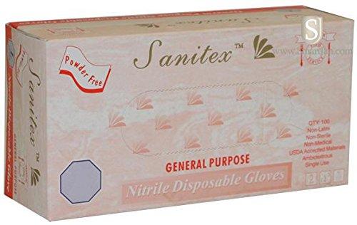 Life Guard 6394 Sanitex Industrial Grade Gloves, Nitrile, Powder-Free, Large, Blue (Pack of 100)