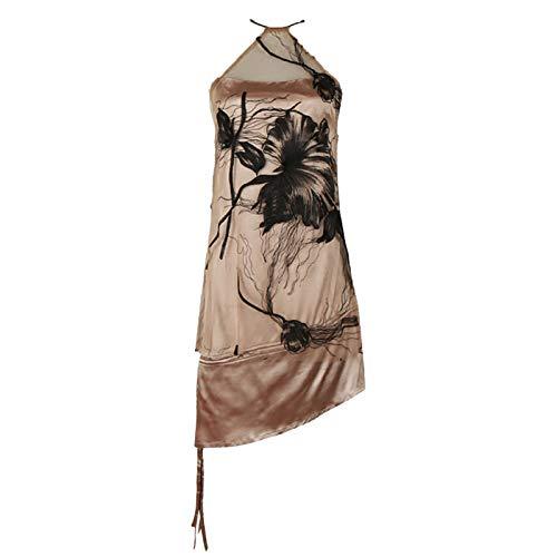 KASHINO Vestido bordado para mujer cuello halter, sin mangas, cintura alta, dobladillo irregular, vestidos sexys mujer moda marea