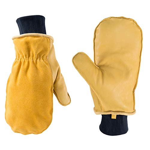 Wells Lamont 1430L Men's Winter Leather Mitten with Glove Liner, Large ( 1430), Brown