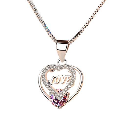 ABOOFAN Stylish Necklace Pendant Fashion Heart Shape Neck Accessories Creative Elegant Jewelry for Women Girls.