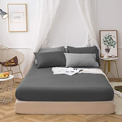 Non-Iron Double Bedding Fitted Sheet with All Around Elastics Brushed Microfiber Breathable (Grey)