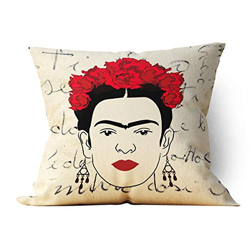 "chillake Vintage Frida Kahlo Self-Portrait with Flowers Art Throw Pillow Case Cushion Cover for Sofa Couch Living Room Home Decor - Best Square Pillow Case Home Decoration Gifts (18""x 18""Inch)"