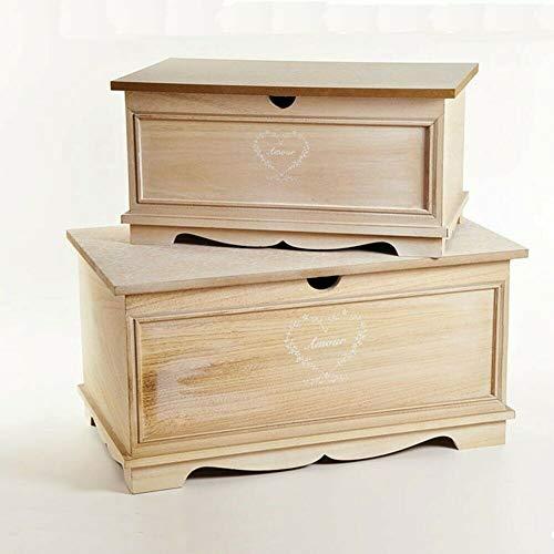 LE STELLE Set 2 Bauli in Legno Cassapanche Multiuso Arredo Casa Stile Shabby Beige 58X34X30 cm