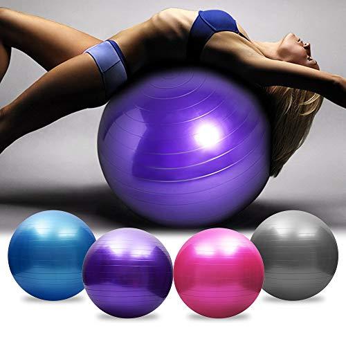 Pelota de ejercicio, bola de equilibrio de estabilidad, pelota de yoga, bola de parto de embarazo, silla de bola de yoga extra gruesadiseño antiexplosión, y bomba rápida (morado, 65 cm)
