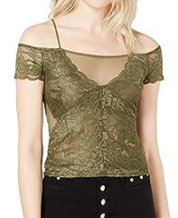 Guess Camiseta Cuello Barco Encaje Mujer Verde