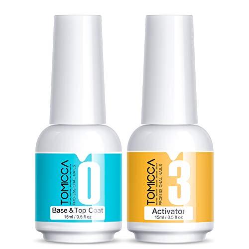 TOMICCA 2x15ml Dip Powder Top Base Coat con activador, Juego de líquidos de inmersión 2 en 1, No se necesita lámpara UV/LED, Juego de líquidos de manicura de inmersión para esmalte de uñas en polvo