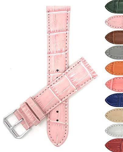 Leder Uhrenarmband 14mm für Damen, Rosa, Alligatormuster, auch verfügbar in weiß, blau, rot, orange, dunkelgrün