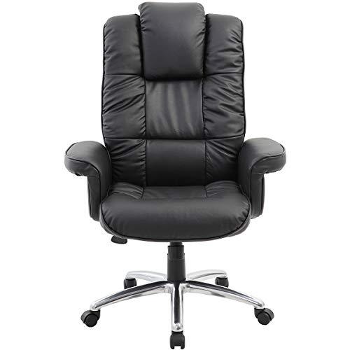 Certeo Chefsessel Athen mit Lederbezug und Armlehnen - Soft Touch Leder in schwarz - Schreibtischstuhl mit italienischem Design