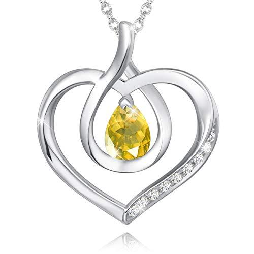 AGVANA Miłość serce kamień urodzinowy naszyjnik biżuteria, srebro wysokiej próby 925 ręcznie robiony naszyjnik damski wisiorek Dzień Matki urodziny rocznica biżuteria prezenty dla niej dziewczyny mamy żony, długość łańcuszka 40 + 5 cm e srebro wysoki