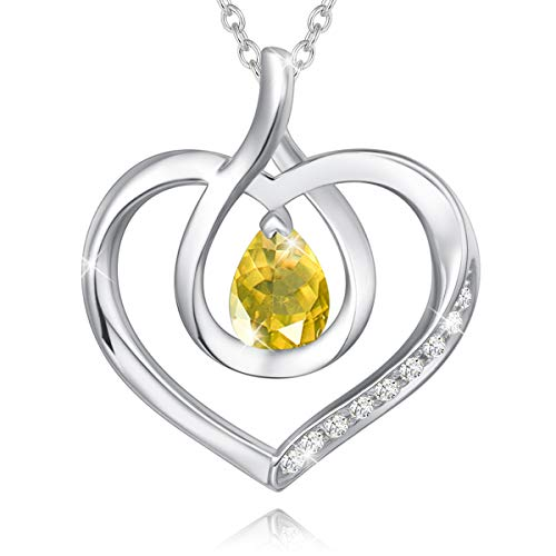 Agvana November Birthstone Heart Necklace for Women Sterling Silver Natural Citrine CZ Infinity Love Pendant Necklace Anniversary Birthday Gifts Fine Jewelry for Girls Her Wife Daughter Mom Yourself