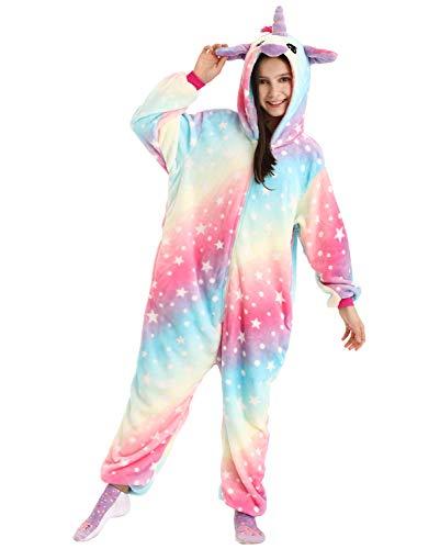 DRESHOW Weiche Mädchen Einhorn Bademantel Nachtwäsche Komfortable Onesie Tier Schlafanzug Pyjamas Kostüm für Kinder, Pajamas Pink Rainbow, 8-9 Jahre (Tag 130)
