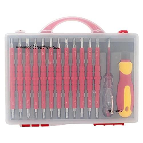 Set de destornillador de electricista aislado, bits magnéticos extraíbles de precisión, caja de herramientas de ensamblador destornillador aislado 26 PCS
