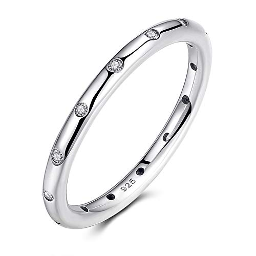 2.5mm 925 Sterling Silver Simulated Diamond Cubic Zirconia CZ Stackable Wedding Ring Eternity Engagement Bands for Women (7)