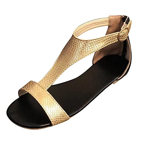 FAMOORE Platform Sandals For Women Wedge Women's Fashion Casual Printed Snakeskin Flat Slippers Beach Sandals Slide Shoes Gold 9.5