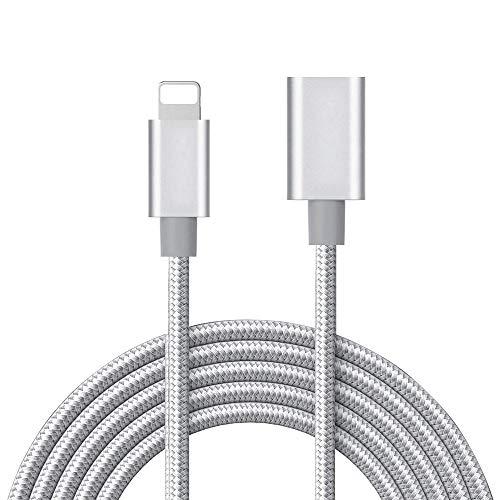 meloaudio 3.3FT Cavo di prolunga a Treccia Cavo di sincronizzazione per la Ricarica Dispositivi iOS compatibili con Vedio e Audio, Adattatore per connettore da Maschio a Femmina