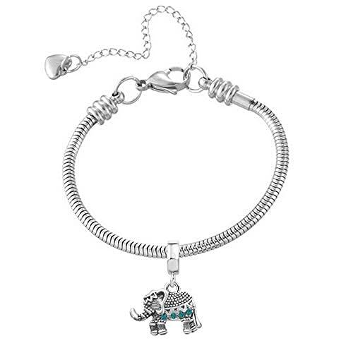 Pulsera de cadena de serpiente con diseño de elefante y animales de acero inoxidable para niñas